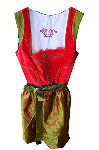 Sportalm Kitzbühel Dirndl Trachtenkleid Kleid und Schürze Balkonettdirndl Modell: Podersdorf Gr. 38 Farbe: Rot/Grün Modell: SA787039 Länge: Midi Dirndl NEU! Dirndl Trachtenkleid