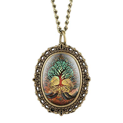 Reloj de bolsillo ovalado con diseño de árbol de la vida, para mujer, collar de cuarzo pequeño, reloj con cadena para niñas