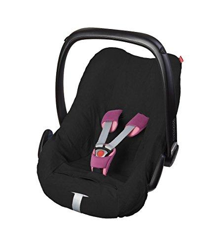ByBoom® - badstof zomerhoes, hoes voor babyschaal, autostoel, bijv. Maxi Cosi CabrioFix, City, Pebble; ontworpen in Duitsland, MADE IN EU, kleur: zwart