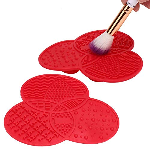 Alinory Maquillage Brush Cleaner, 3 Couleurs Silicone Maquillage Brush Cleaner Pad Lavage Nettoyeur Conseil De Nettoyage Outil De Maquillage(Rose rouge)