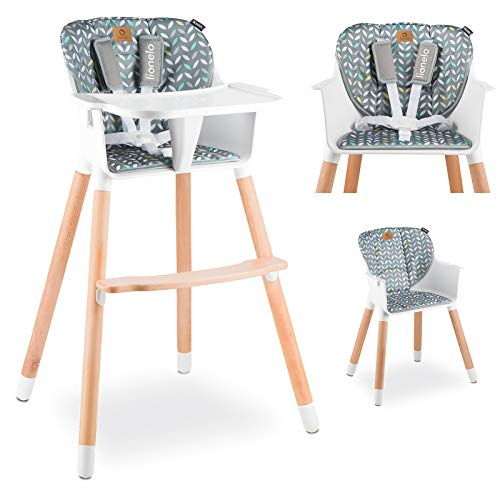 Lionelo Koen Hochstuhl Baby Babyhochstuhl Kinderstuhl Hochstuhl bis zu 40 kg Abnehmbares Tablett 5-Punkt-Sicherheitsgurt Robuste Konstruktion Grau Gelb