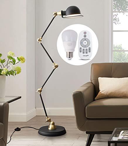 LAMP-XUE LED Moderne vloerlamp met afstandsbediening, opvouwbare design staande lamp, dimbare staande leeslamp verstelbare standaard en zwenkarm werklamp