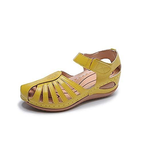 Fnho Cómodos Sandalias de Plataforma para,Sandalias de Plataforma con Correa en para Mujer,Sandalias Minimalistas Ligeras, Sandalias Transpirables de Moda-Yellow_37