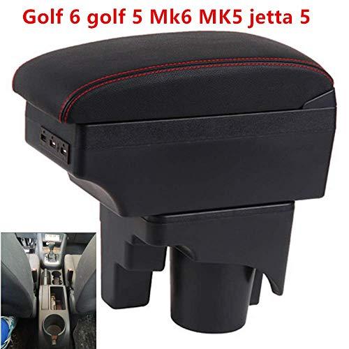 Passend für Volkswagen Golf 6 Golf 5 Mk6 MK5 Jetta 5 Armlehnen Armlehnenbox mit USB Leicht zu montierende Auto-Armlehnen