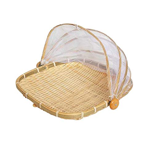 Hand-Woven Food Serving Basket Dustproof Round...