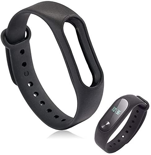 Pulseira Lisa Para Relógio Inteligente Mi Band 2 Xiaomi Smartwatch Silicone Alça Ajustável Preta [Sky Dreams]