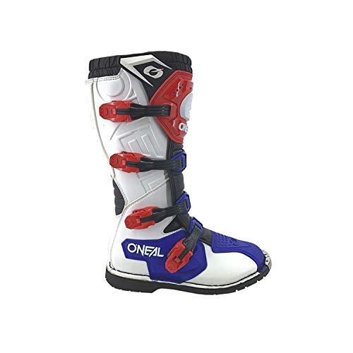 O'NEAL | Motocross-Stiefel | Enduro Motorrad | Komfort durch Air-Mesh-Innenleben, vier Verschlussschnallen, hochwertiges Synthetik-Material | Boots Rider Pro | Erwachsene | Weiß Rot Blau | Größe 44