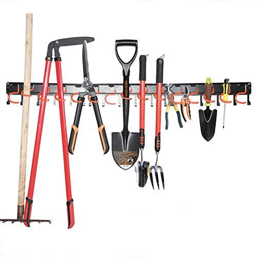 Metal Garden Tool Organizer,51 Inch Garage Organizer,Adjustable Storage System,Garage Wall Organizer for Rake,Broom and Yard Tools (Black)