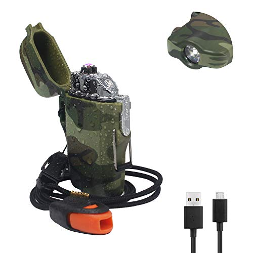 JiaDa Waterproof Lighter,Electric Lighter Flashlight USB Rechargeable Arc Lighter, Portable Handheld,IPX7 Water-Resistant for Outdoor Camping - 2 in 1 (YJD-Camouflage)