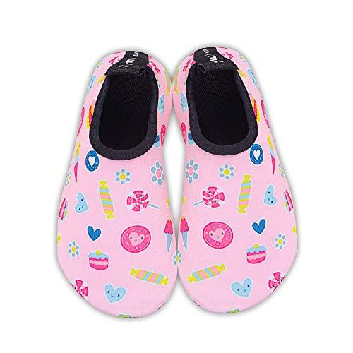 HMIYA Kinder Badeschuhe Wasserschuhe Strandschuhe Schwimmschuhe Aquaschuhe Surfschuhe Barfuss Schuh für Jungen Mädchen Kleinkind Beach Pool(Rosa TGF,18/19)
