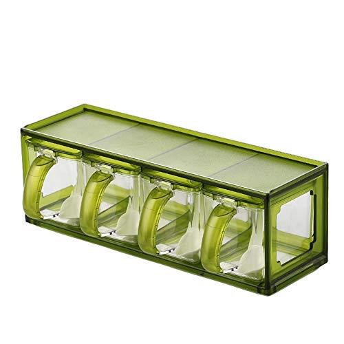 Hejwh GewüRzkasten Mit LöFfel, GewüRzbehäLter MSG GewüRzkasten Setzen Salz Haushalt Kombination Salzstreuer Lagerung Set Flasche Zuckerglas GewüRz, Green, 4 Seasoning Boxes