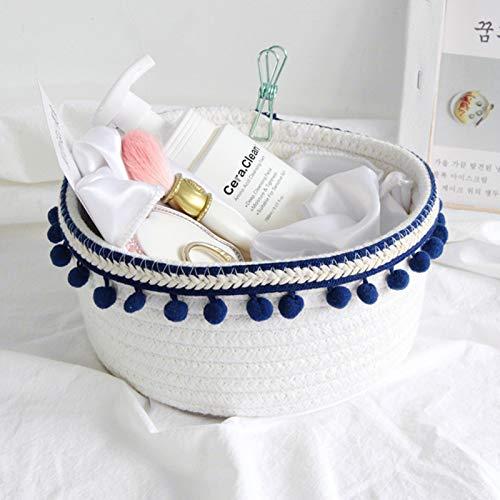 Cesta de almacenamiento de cuerda de algodón, pequeña cesta tejida con bola de pelo para almacenamiento en el hogar, escritorio, organizador de cosméticos (azul marino)