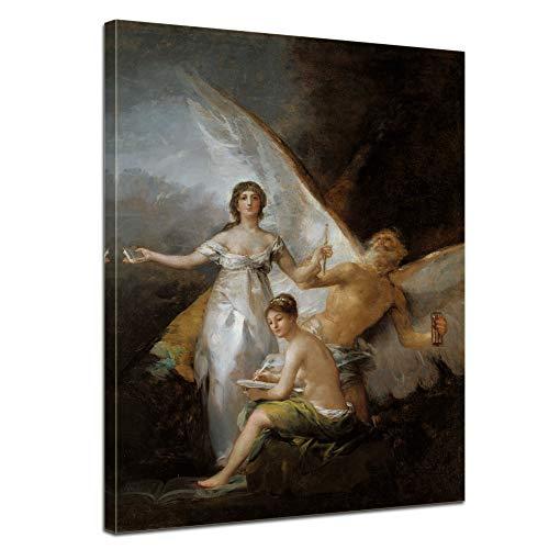 Leinwandbild Francisco de Goya Die Wahrheit, die Geschichte und die Zeit - 50x70cm hochkant - Wandbild Alte Meister Kunstdruck Bild auf Leinwand Berühmte Gemälde