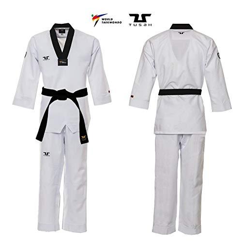Tusah - Dobok Professional Fighter Ultraligero para Taekwondo Reconocido WT Coreano (160)
