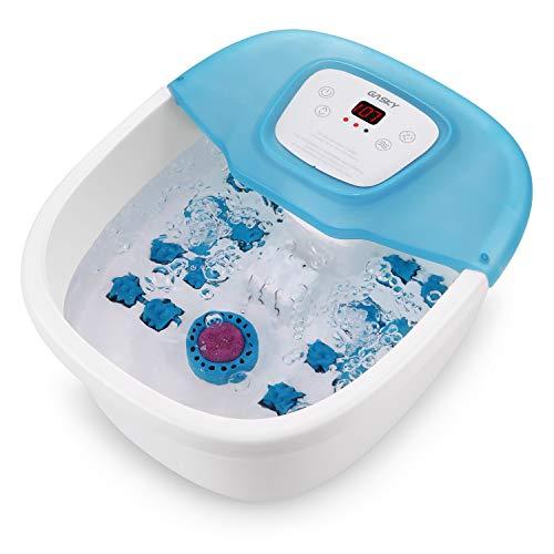 Fußbad, Fußmassagegerät mit Heizung, Blasen- und Vibrationsmassage und Pediküre-Einweichfüßen, einstellbare Temperatur und automatische Abschaltung, 16 abnehmbare Massagerollen, Heimgebrauch