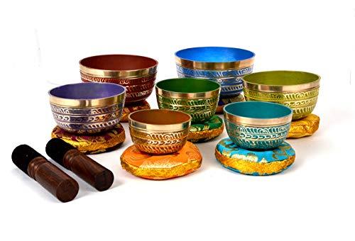TATTOPANI - Juego de cuencos tibetanos para meditación de 7 chakras, para oración curativa, yoga con mazo y cojín (KTM-SINGBOWL-1112MSET7)