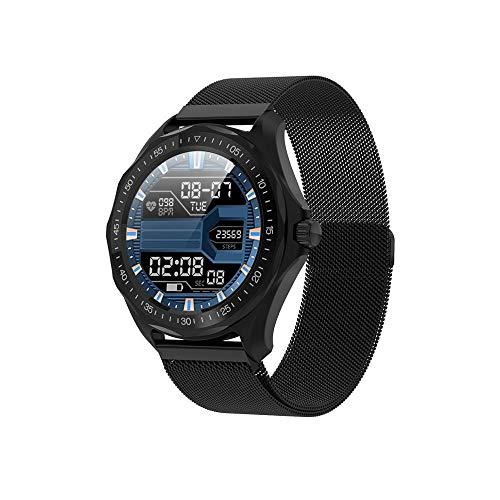 KYLN Smart Watch Uomo IP68 ImpermeabileCardiofrequenzimetro Pressione sanguigna Fitness Tracker GPS Smartwatch-Milano Nero