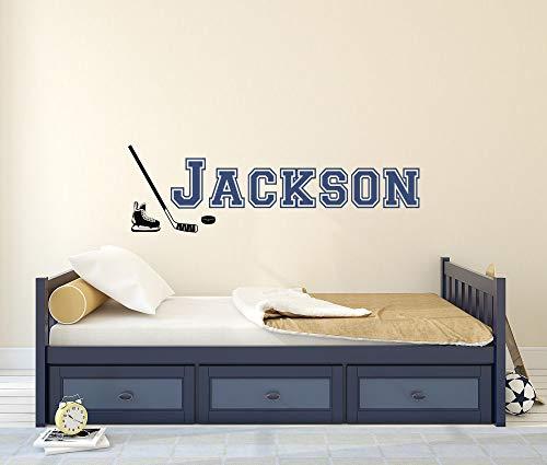 Personalisierbarer Hockey-Wandaufkleber, personalisierbarer Name mit Hockey-Schlittschuhen & Sticker, Vinyl-Aufkleber, für Kinderzimmer, Jugendliche, Kinder, 30,5 cm breit