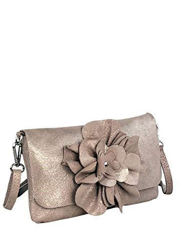 collezione alessandro avondtas Celine van leer met bloem in zacht roze 24 cm x 14 cm x 2 cm