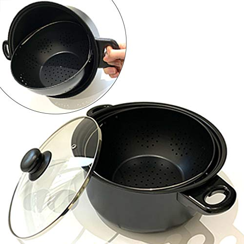 Cooking Pot with Strainer, 6QT Multifunction Pasta Pot with Non-Slip Handles, Built-in Rotatable Filter Basket Always Stays Upright for Easy Draining