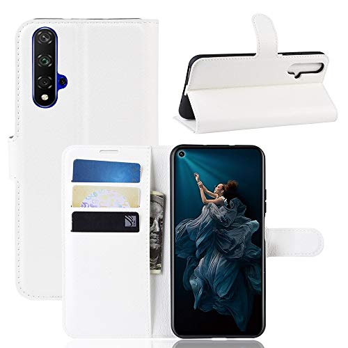 CoverKingz Handyhülle für Huawei Nova 5T - Handytasche mit Kartenfach Nova 5T Cover - Handy Hülle klappbar Weiß
