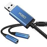USB オーディオ変換アダプタ MillSO usb イヤホンジャック 変換 (USBポート-4極 3.5mmミニジャック×2) 分配ケーブル 4極ヘッドセット/マイク付きイヤホン用 外付け サウンドカード PS5,PS4,Mac OS/X,Windows/WindowsXP,surface,proLinuxなど対応