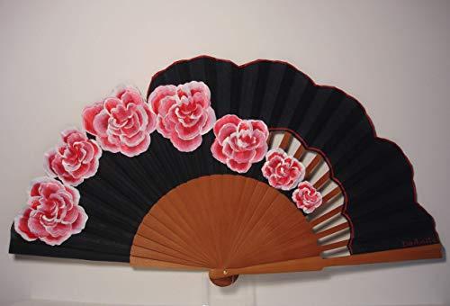 Abanico español/Abanico pintado a mano/Abanico flamenco/Abanico de madera/Abanicos Sevilla'Rosas de Granville'