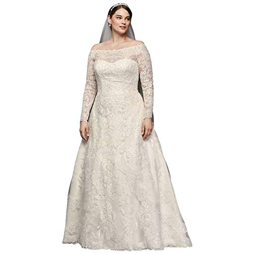 David's Bridal Off-The-Shoulder Plus Size A-Line Wedding Dress Style 8CWG765, White, 18W