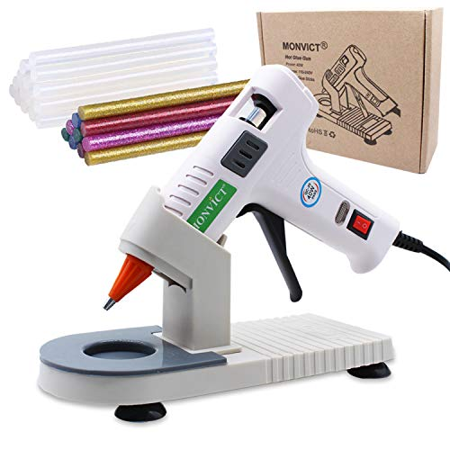 Hot Glue Gun, MONVICT 40W Fast Heating Glue Gun Kit with A Glue Gun Stand and 30 Glue Sticks, Suction Cups & Anti-Stick Silicone Mat & On/Off Switch Design for DIY, Crafts, School Project (Patented)
