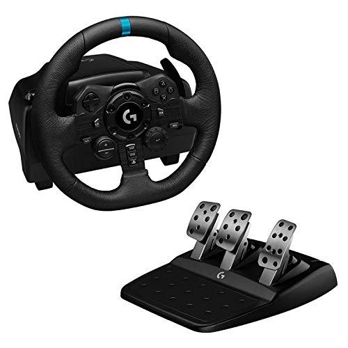 Logitech G923 Volante y Pedales de Carrera, TRUEFORCE 1000 Hz Force Feedback, Embrague Dual, Funda de Volante en Cuero Auténtico para PS5, PS4 y PC, Negro