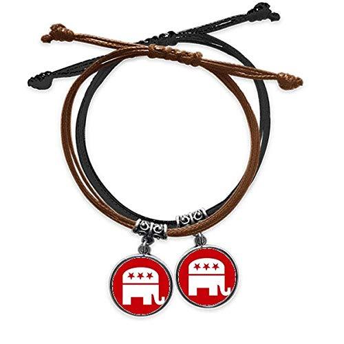 Diythinker - Pulsera de piel con diseño de elefante rojo, emblema del Partido Republicano de la América