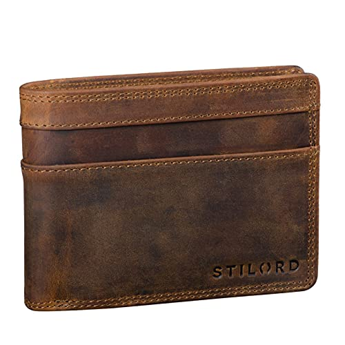 STILORD 'Cooper' Portafoglio Blocca RFID Pelle Uomo Vintage Elegante Sicuro con Portamonete Cuoio Sottile, Colore:marrone medio