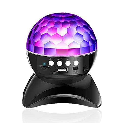 Hanbaili Disco Ball Party Lichter Bluetooth-Lautsprecher, Bass-Lautsprecher 7 Farben Licht, USB/TF-Karte MP3-Player, LED DJ Stage Strobe Lampe für DJ, Pool Party