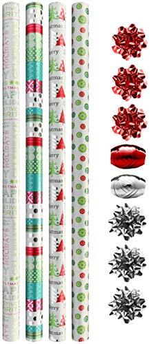 COM-FOUR® 12-delige pakpapier set voor kerst - geschenkverpakkingsset bestaande uit strepen, pakpapier, geschenkstrikken (012 stuks - wit/gekleurd)