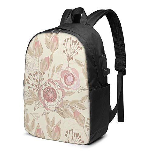 XCNGG Floral Elements Seamless Travel Laptop Backpack College School Bag Casual Daypack with USB Charging Port