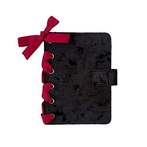 LYLY Cuadernos de taquigrafía Notebook Strap Black Gray Handbook Diary A6 Notebook 128 Hojas Papelería Desmontable Oficina y papelería (Color : Black, tamaño : 15 * 10.5cm)