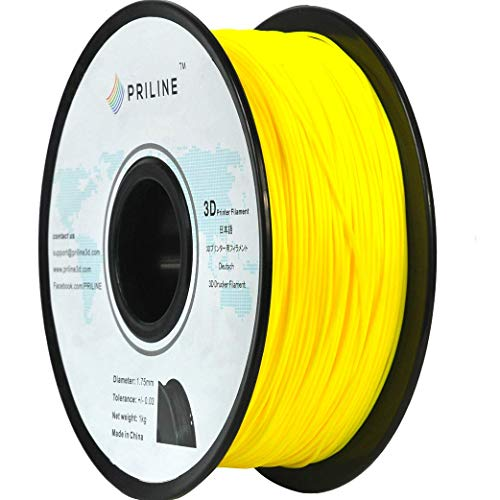 PRILINE TPU-1KG 1.75 3D Printer Filament, Dimensional Accuracy +/- 0.03 mm, 1kg Spool, 1.75 mm,Yellow