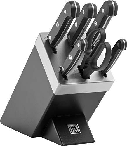 Zwilling 1002453 Gourmet - Bloque de cuchillos autoafilable (7 piezas), color negro