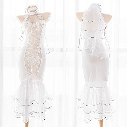 Sjpker-n1 Vestido de Novia de Cola de pez Blanco Puro para Chica, Disfraz Sexy de Lolita, Sirenita, Encantador, Blanco, Encaje de Gasa, Vestido Largo Hueco