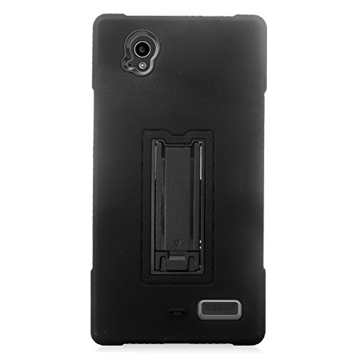 ZTE Warp Elite Case, Eagle Cell Symbiosis Dual Layer [Shock Absorbing] Protection Hybrid Stand Rubber Silicone/PC Case Cover for ZTE Warp Elite, Black