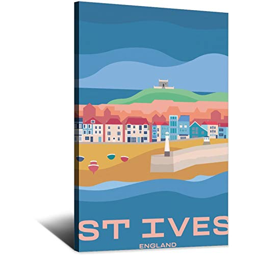 ASFGH England Vintage Travel Poster St Ives Decor Painting Poster Modern Office Family Canvas Art Poster Picture Bedroom Decorative Gift Posters