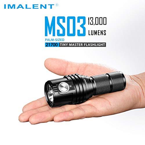 IMALENT MS03 Linterna táctica súper brillante EDC 13000 lúmenes, uso de 3 piezas CREE XHP70 de 2ª luz LED de alta luminosidad linterna de mano para camping, senderismo, seguridad y emergencia
