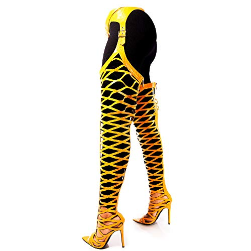 Cape Robbin Train Thigh High Over The Knee Chap Boots, Stiletto Heel, Fashion Dress Boots for Women - Yellow Size 7.5