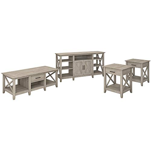 Bush Furniture Key West Tall TV Stand with Coffee Set of 2...