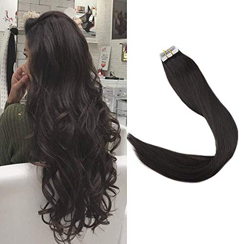 Full Shine Tape Hair Extensions Remy Human Hair 16 Inch Seamless Tape In Hair Extensions Off Black Color #1B Real Human Hair Extensions Thick End Skin Weft 20 Pieces 50 Grams