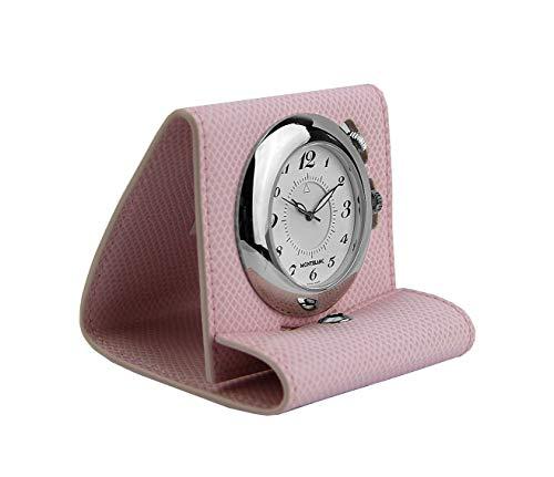 MONTBLANC Reloj despertador de viaje de cuero rosa Boheme Swiss 36987 nueva caja