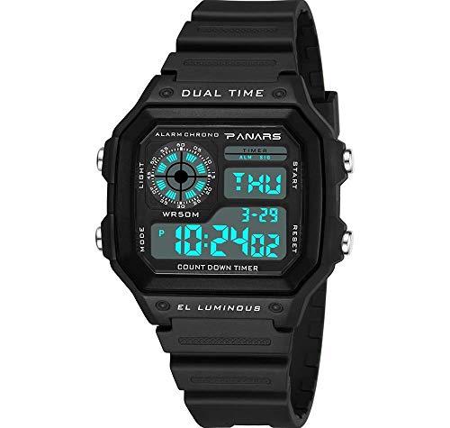 MNBVC Reloj de Pulsera Digital para Hombre, LED para niño 50M, Resistente al Agua, Resistente a roturas, Multifuncional, a la Moda, Luminoso, Pantalla Deportiva al Aire Libre, Gran Cara, Fecha,