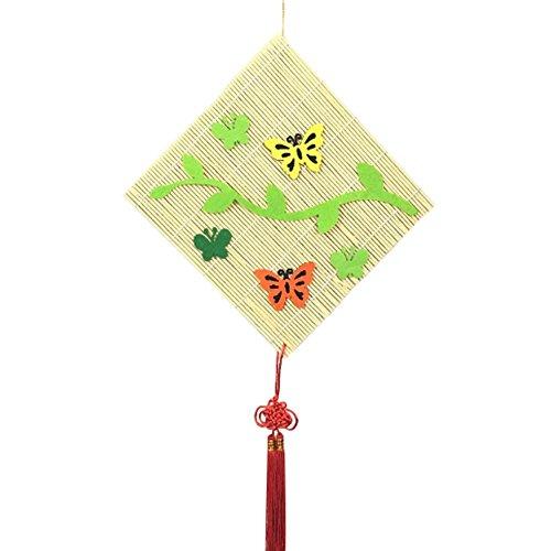 Set bestehend aus 2 Einfache Bambusvorhang mit Schmetterling Dekor, 24x24 cm