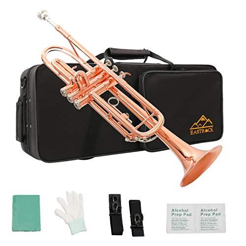 EastRock Trompeten Bb mit Tasche Gold und Schwarz Anfänger Übe für Student (Kupfer phosphoriert)