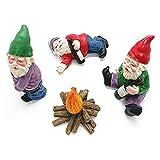 OocciShopp Zwerg Ornamente, 4 Stück Feengarten Zubehör Sammlerfiguren Miniatur Gartenzwerge Figuren Ornamente Betrunkene Zwerge Kit